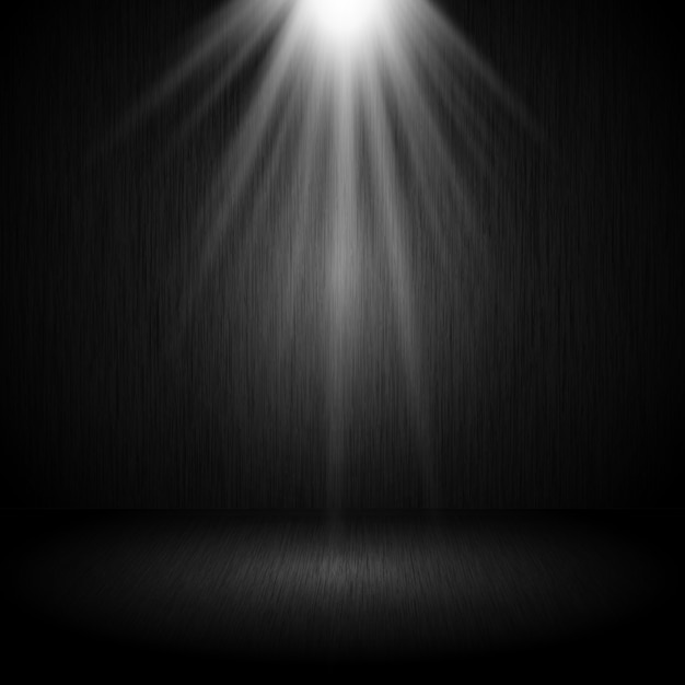Интерьер комнаты темный гранж с прожектором, сияющим вниз Бесплатные векторы