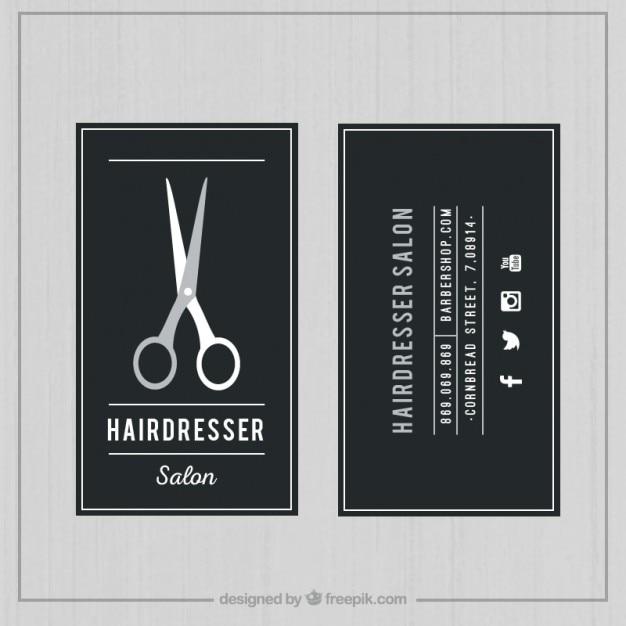 Dark hairdresser salon card Free Vector