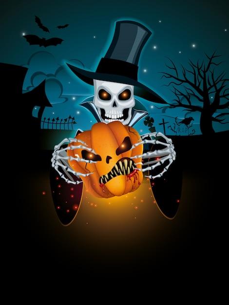 Dark halloween background Premium Vector