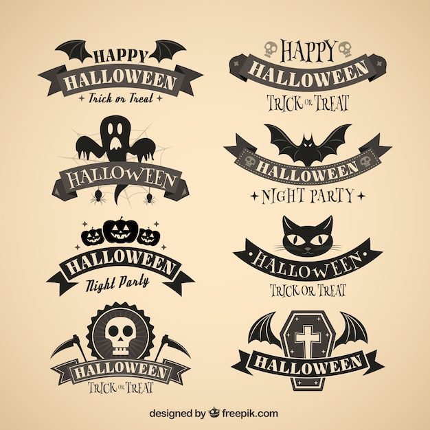 Dark halloween badges Free Vector