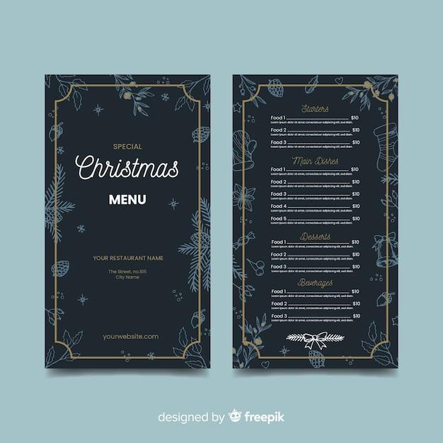 Dark hand drawn christmas menu template Free Vector