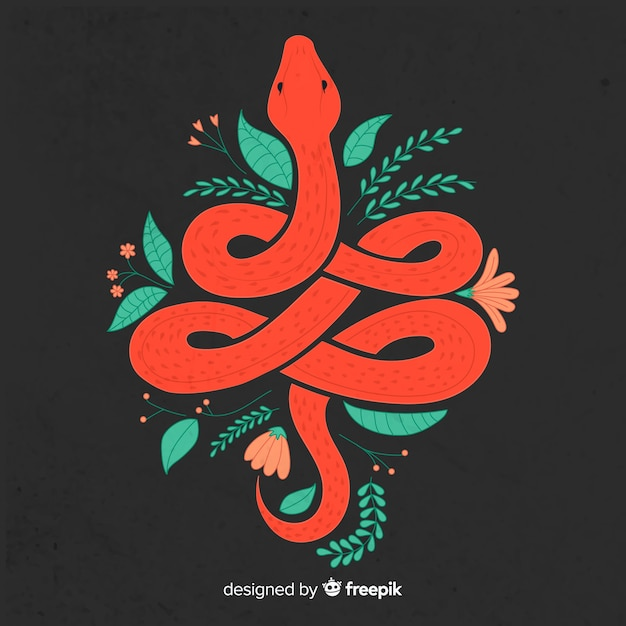 Dark hand drawn snake with flowers background Free Vector