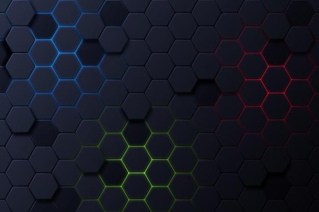 Dark hexagonal background with gradient color Free Vector