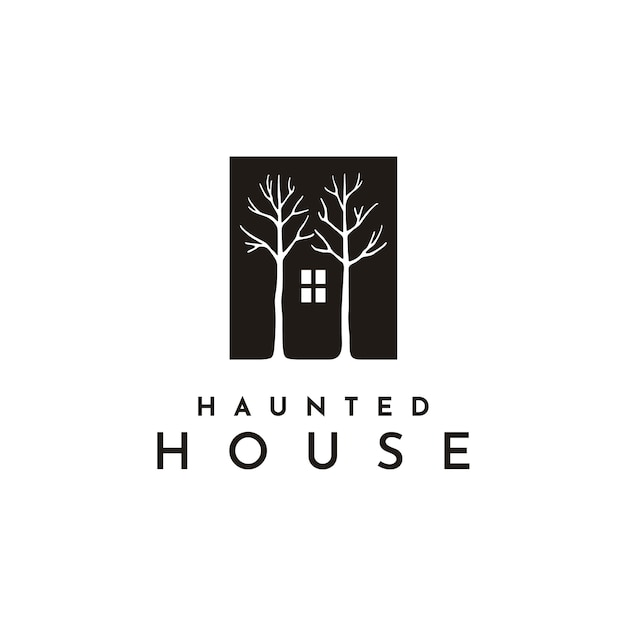 Dark house window and tree illustration logo Premium Vector