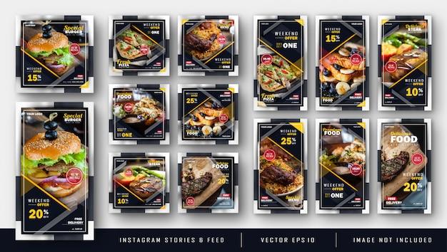 Dark instagram food bundle kit template Premium Vector
