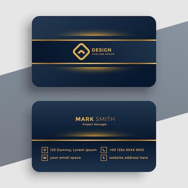 Dark luxury golden business card template Free Vector