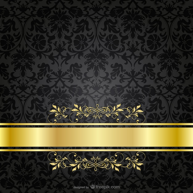 Dark luxury golden template Free Vector