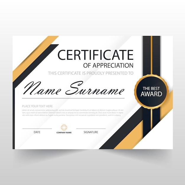 Dark luxury horizontal certificate design
