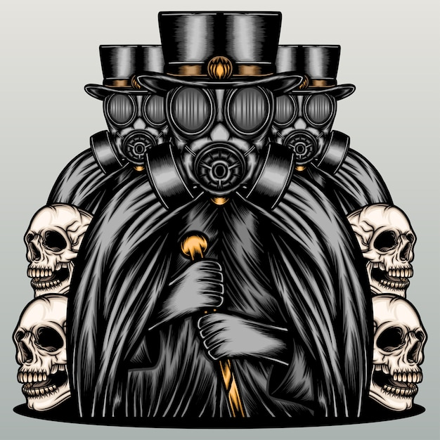 Dark mafia wearing gas mask. Premium Vector