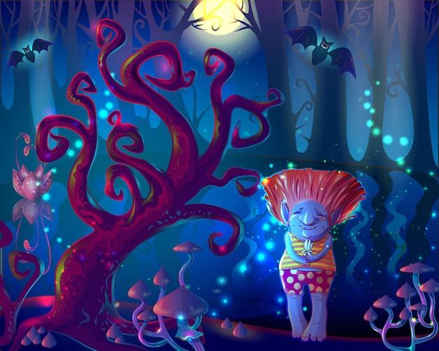Dark magic enchanted forest illustration Free Vector
