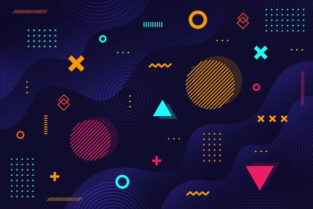 Dark memphis geometric shapes background Free Vector