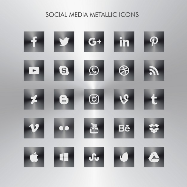 dark metallic social media icons vector free download