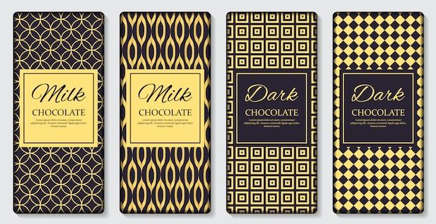 Dark and milk chocolate bar packaging label Premium Vector