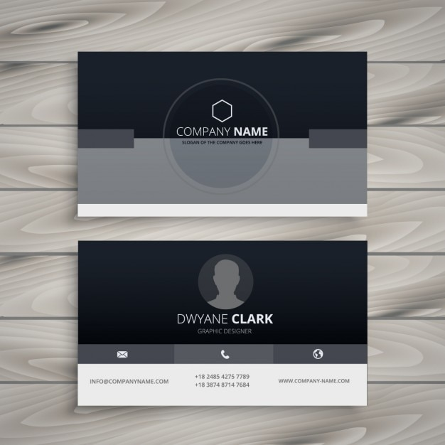 Dark Minimalist Business Card Free Vector