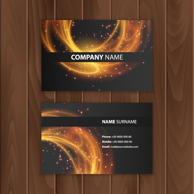 Dark modern business card design template with abstract colorful background Premium Vector
