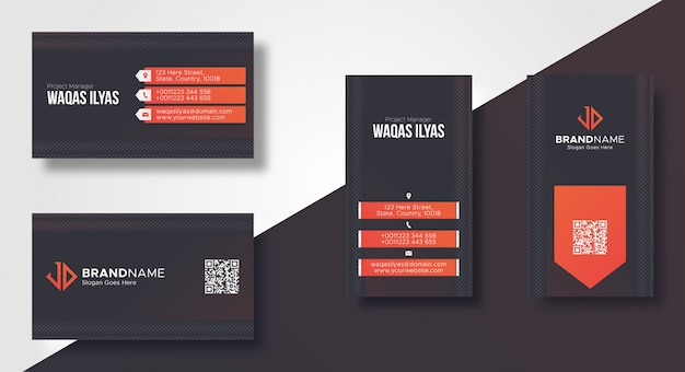 Dark modern business card template Premium Vector
