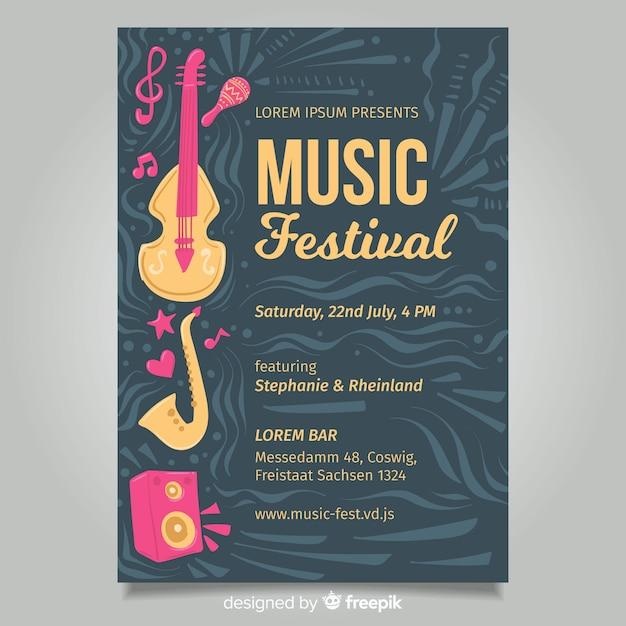 Dark music festival poster Free Vector
