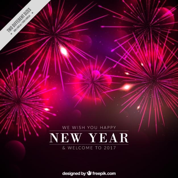dark new year background with purple fireworks premium vector
