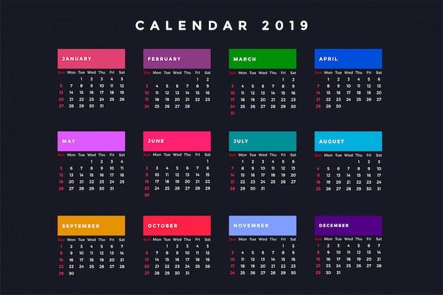 Dark new year calendar for 2019 Vector | Free Download