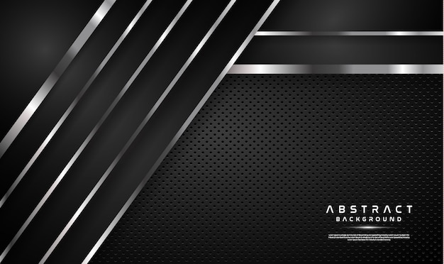 Dark overlap black background with silver line Premium Vector