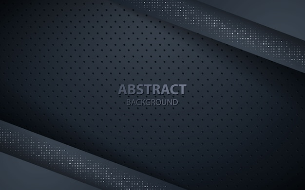 Dark overlap layers background with silver glitters Premium Vector