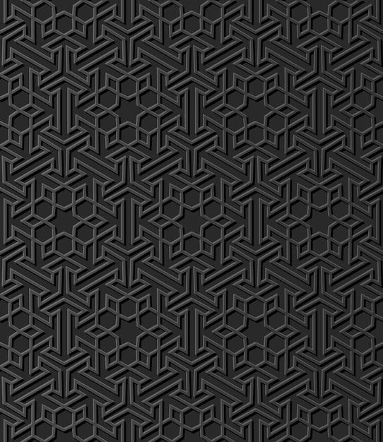 Темная бумага искусство исламская геометрия крест узор бесшовный фон Premium векторы