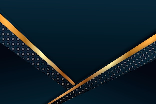 Dark paper layers background with gold details theme Free Vector