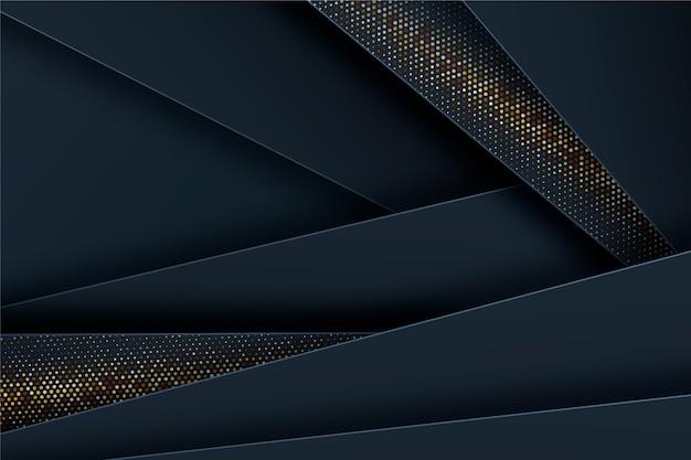 黄金の詳細と暗い紙層の背景 無料ベクター
