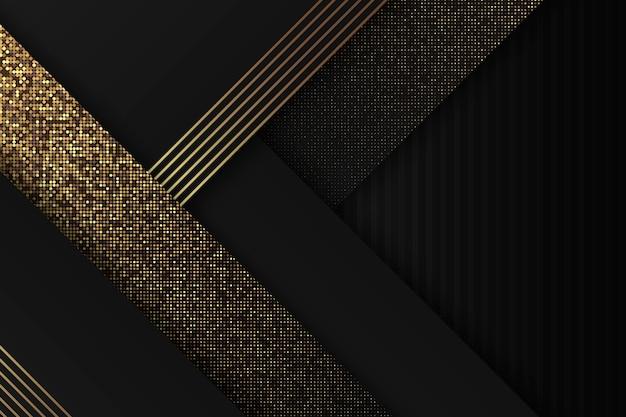 황금 세부 사항 가진 어두운 종이 레이어 배경 무료 벡터