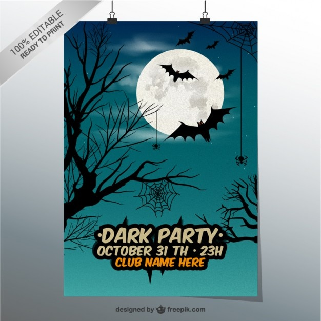 Dark party poster template Free Vector