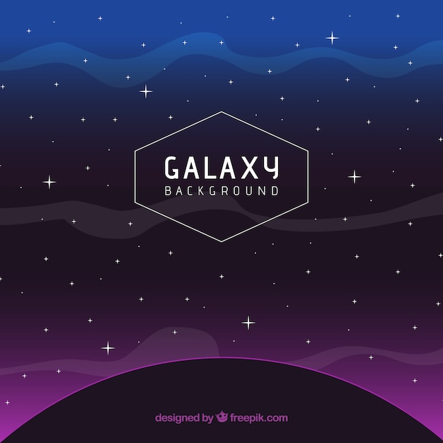 Dark planet background with purple light and stars