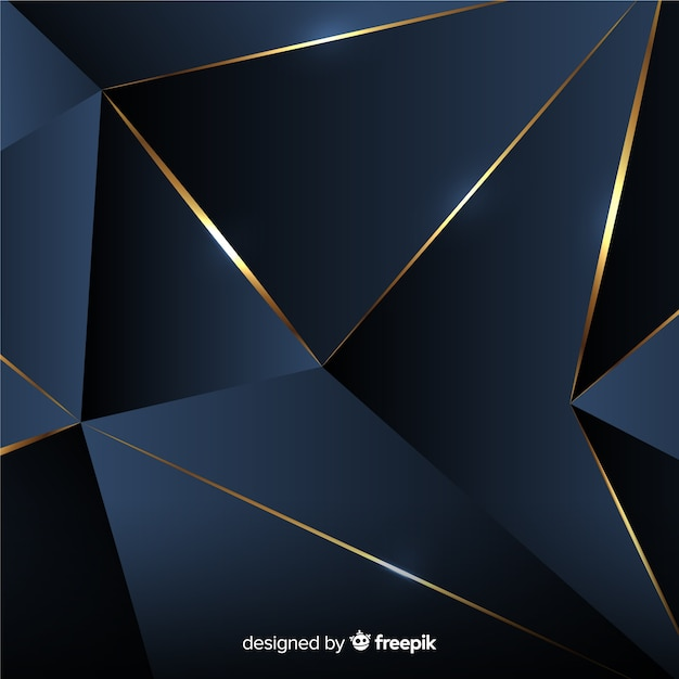 Dark polygonal background with golden lines Free Vector