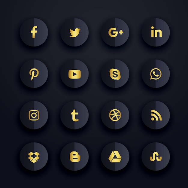 Dark premium social media icons set Free Vector