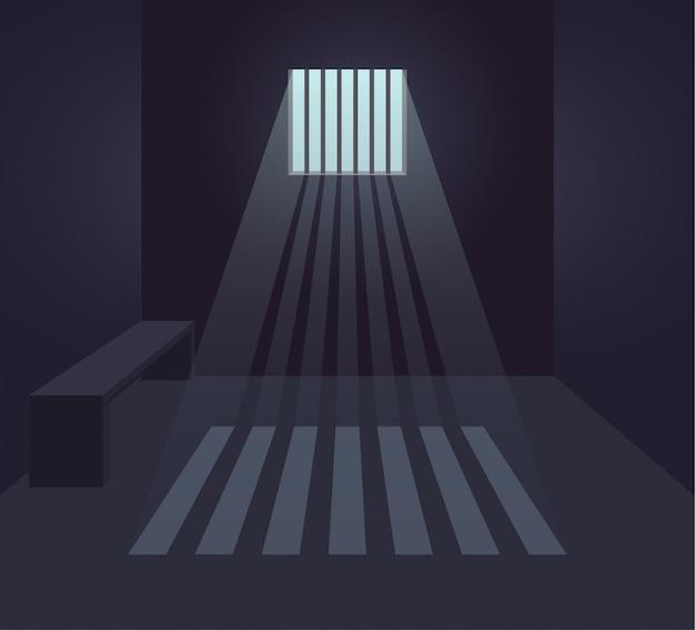Интерьер темной тюремной камеры. тюремная комната. небольшое окно с солнечными лучами. плоская иллюстрация. Premium векторы