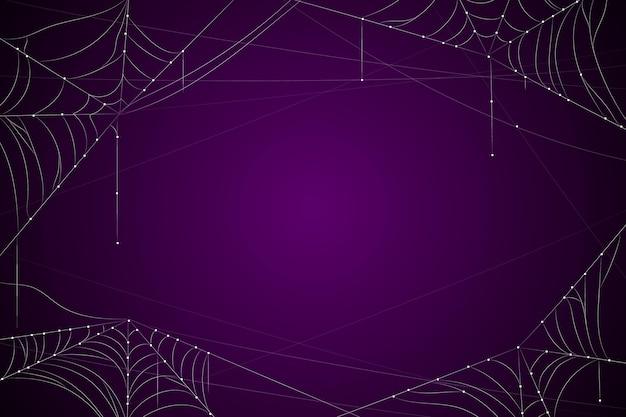 クモの巣と暗い紫色のハロウィーンの背景 Premiumベクター
