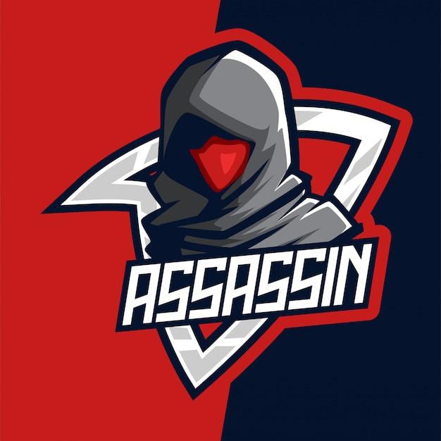 Dark red assassin e-sport mascot logo Premium Vector