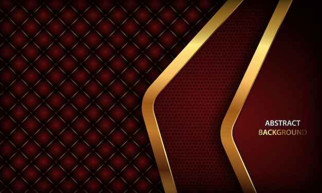 Dark red background with golden element and realistic buttoned leather Premium Vector