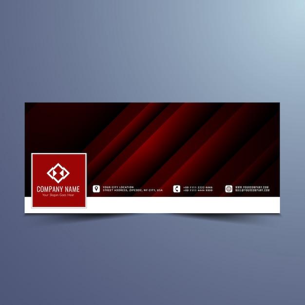 Dark red banner design for facebook timeline Free Vector