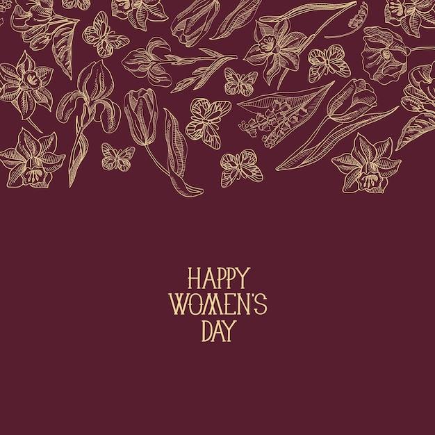 Biglietto di auguri di design rosso scuro con molti oggetti intorno al testo sulla festa della donna decorato dall'illustrazione di vettore dei fiori Vettore gratuito
