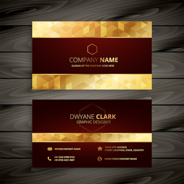 Dark red and gold business card Free Vector