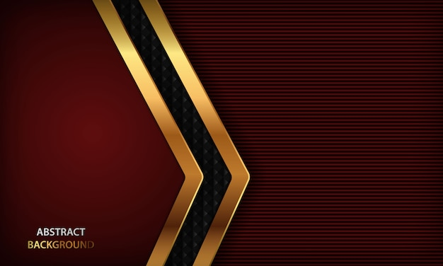 Dark red luxury background with realistic golden design. Premium Vector