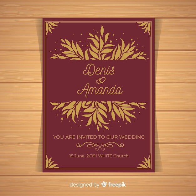 Dark red wedding invitation template Free Vector