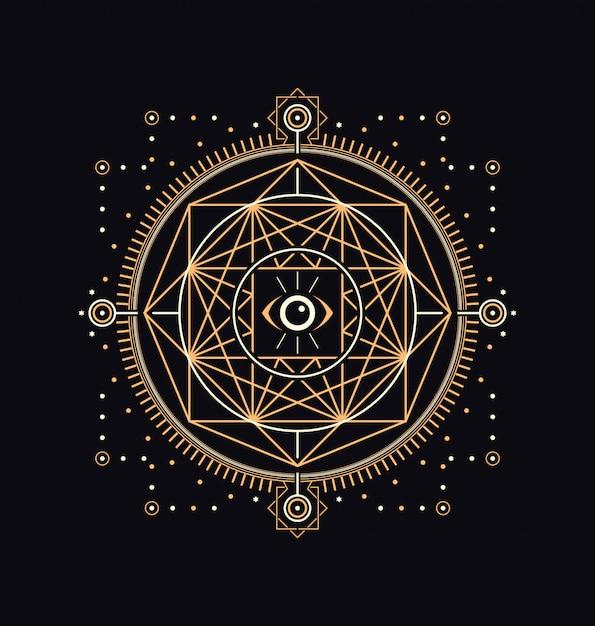 Dark sacred symbols Premium Vector