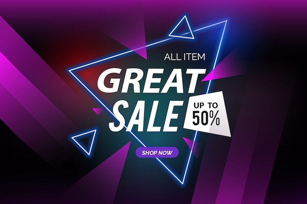 Dark sales background and polygonal shapes Free Vector