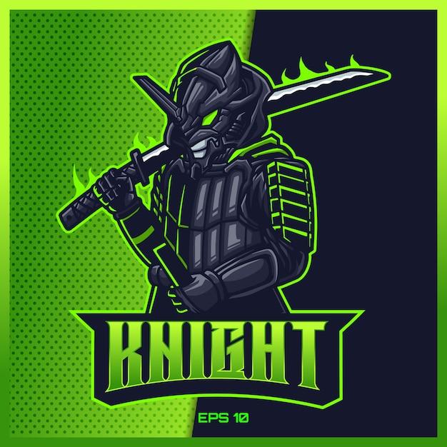 Dark samurai grab sword esport and sport mascot logo design in modern illustration concept for team badge, emblem and thirst printing. ninja illustration on light green background. illustration Premium Vector