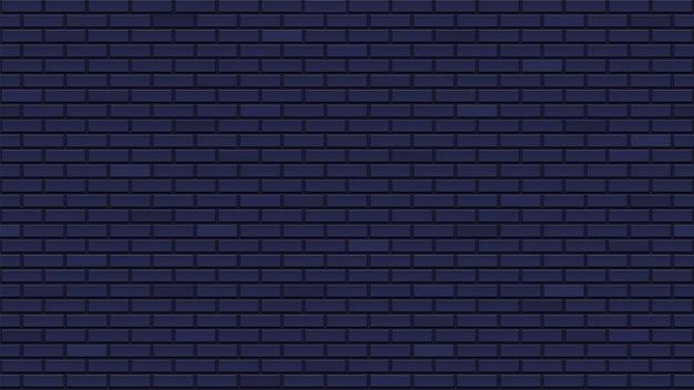 Темная бесшовная кирпичная стена. прекрасный интерьерный шаблон с голубоватыми черными кирпичами. повторяющаяся кирпичная кладка. чистая детальная текстура. Premium векторы