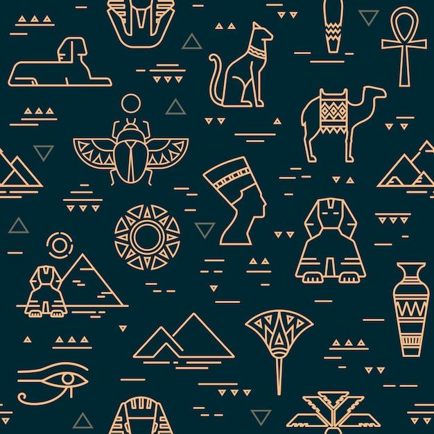 Dark seamless pattern of symbols, landmarks, and signs of egypt Premium Vector