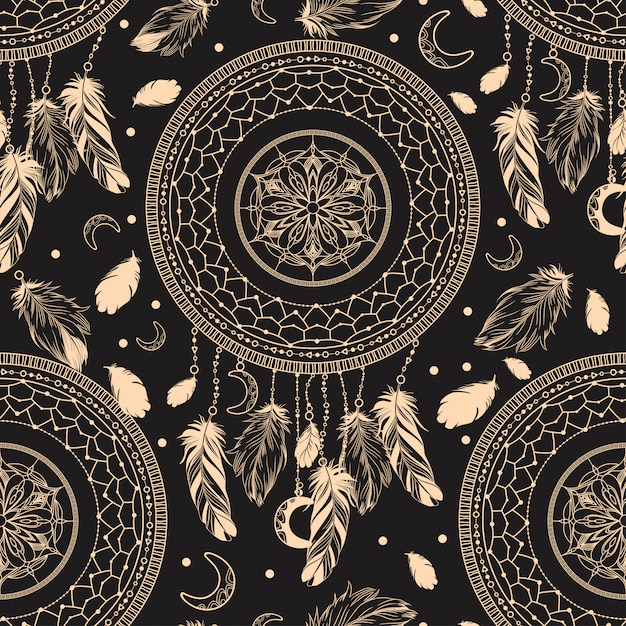 Dark seamless pattern with the image of the dream catcher. Premium Vector