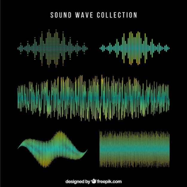 Dark sound wave collection Free Vector