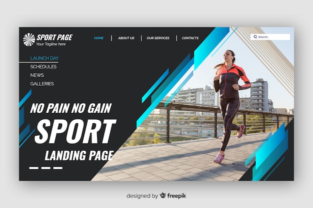 Dark sport landing page with blue lines and photo Free Vector